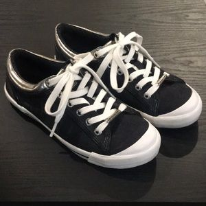 Black/white/silver Coach sneakers